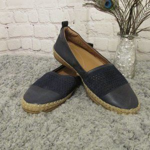 Clarks Navy Perforated Espadrille Flats